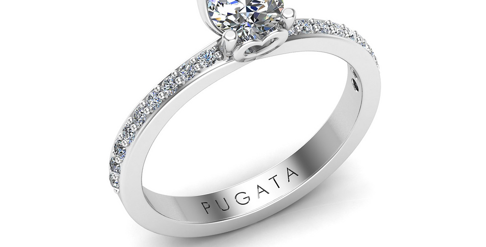 Platinum Heart Solitaire Diamond Shank Ring