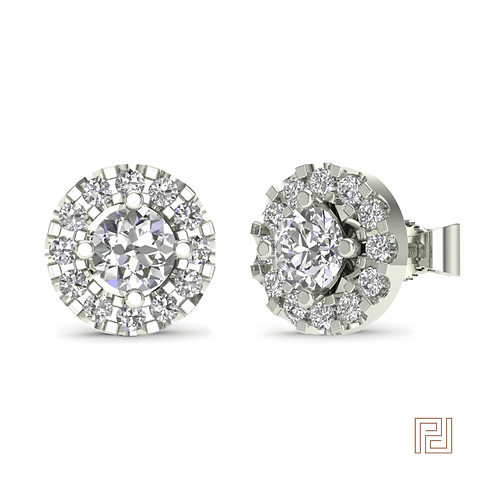 White Gold Halo Stud Earring