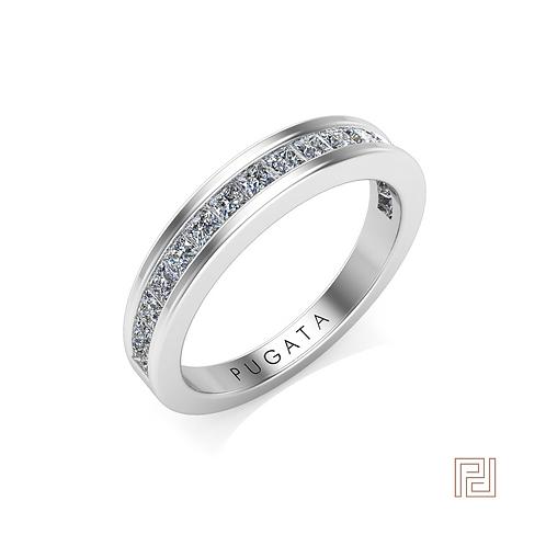 Platinum Princess 3mm 50% Olivia Wedding Ring