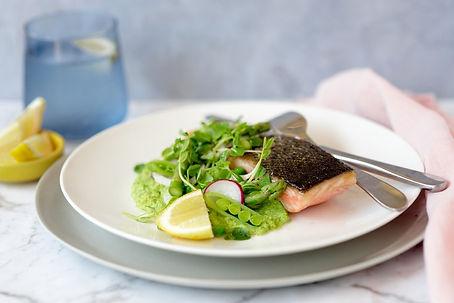 Seared-Salmon-with-Pea-Puree-Pea-Shoot-S
