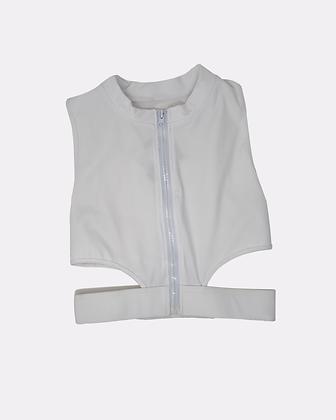 Rosabella Split Waist Zipper Crop Top