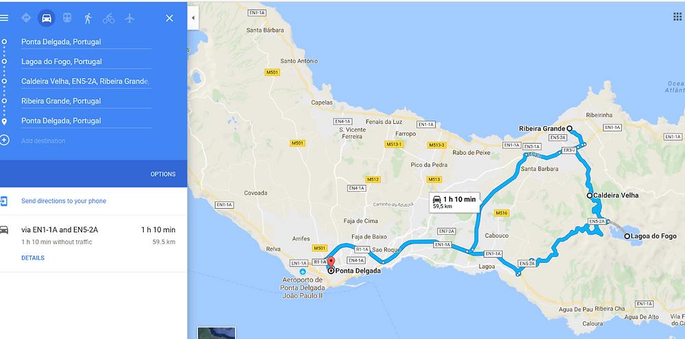 Ponta Delgada to Lagoa do Fogo