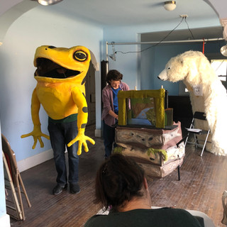 Frog show rehearsal (polar bear build in back)