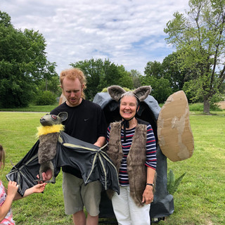 Bats show after performance puppet demo