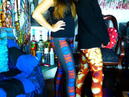 Marjorie in patterned leggings and Leah in red dahlia leggings