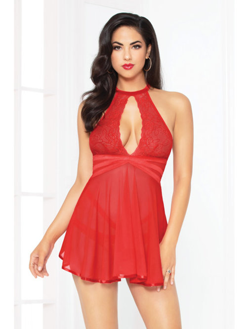 Lace Mesh Babydoll w/Strappy Waist & Panty w/Criss Cross Waistband Red MD