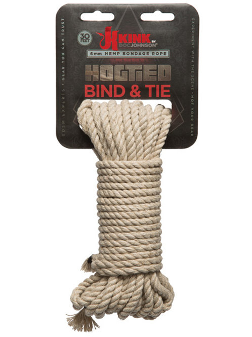Kink Bind & Tie Hemp Bondage Rope - 30 ft Natural