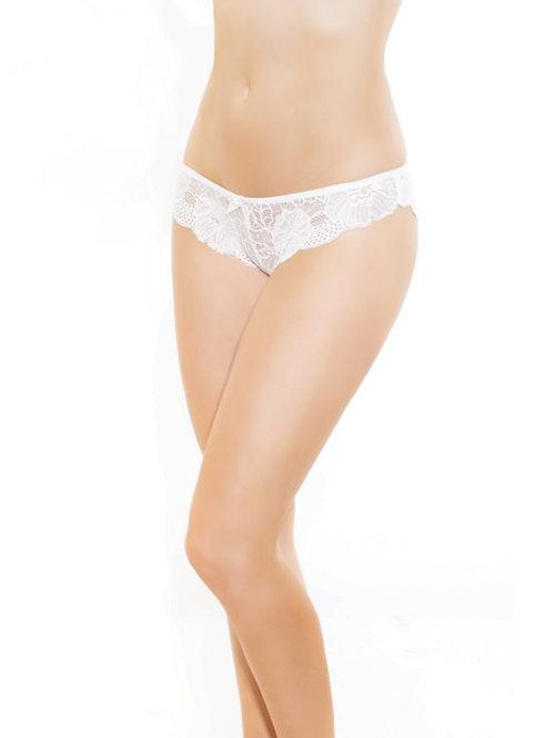 Low Rise Stretch Scallop Lace Panty White O/S