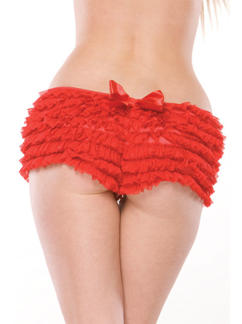 Ruffle Shorts w/Back Bow Detai Red O/S