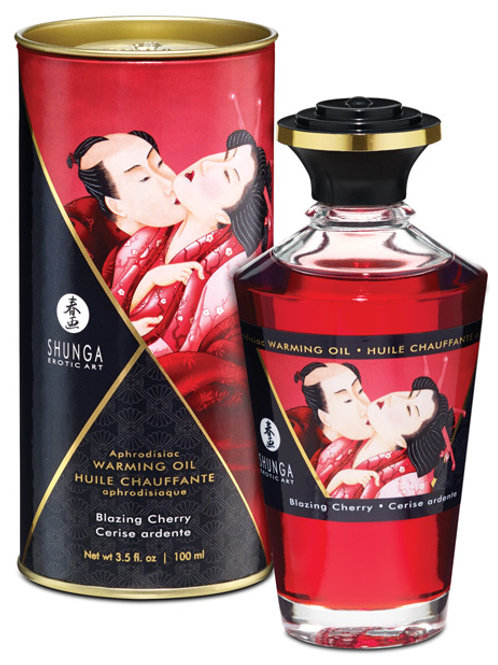 Shunga Warming Oil - 3.5 oz Blazing Cherry