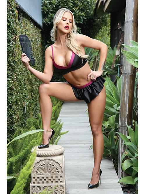 Premiere Linda Bralette & Tap Panty Set Black/Berry L/XL