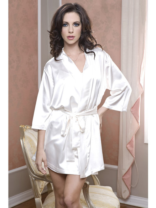 Satin 3/4 Sleeve Robe w/Matching Sash White S/M