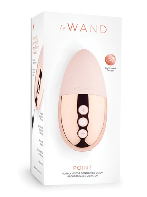 Le Wand Chrome Point Rumbly Motor Lay-on Rechargeable Vibrator - Rose Gold