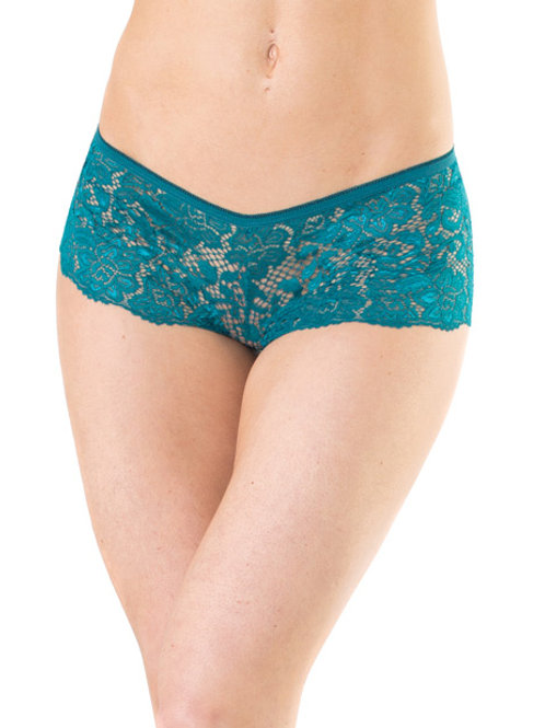 Low Rise Stretch Scallop Lace Booty Short Teal O/S