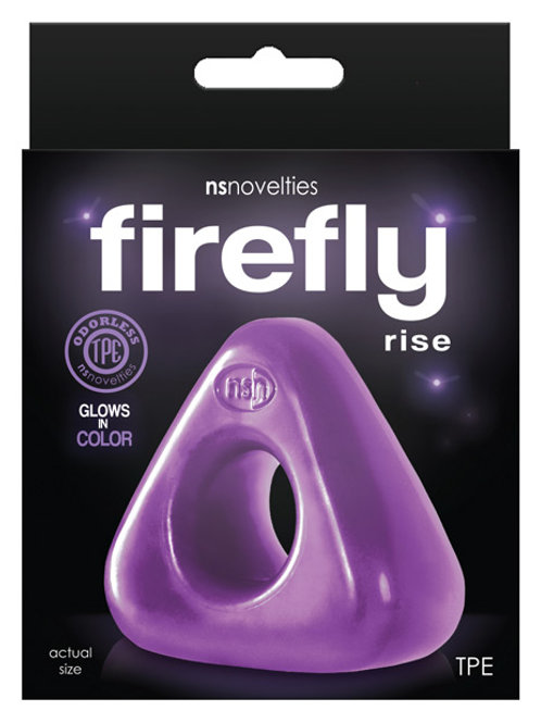 Firefly Rise is a glow-in-the-dark cockring/ballring designed with a wide angled
