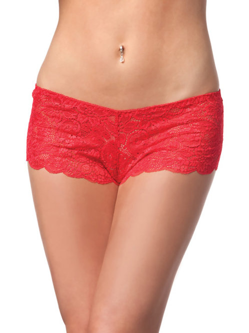 Low Rise Stretch Scallop Lace Booty Short Red O/S