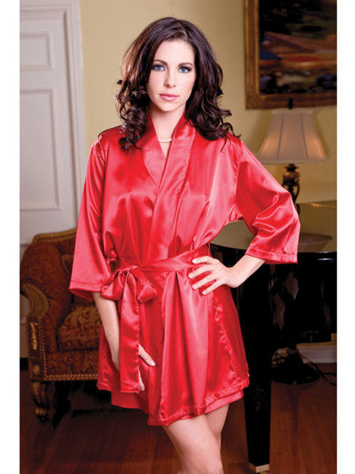 Satin 3/4 Sleeve Robe w/Matching Sash Red L/XL
