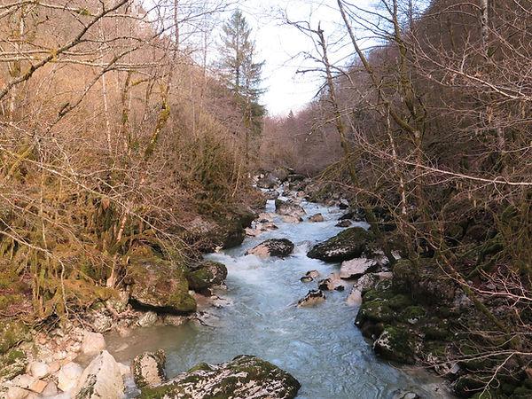 Trail de la Valserine 2021 la valserine au niveau de l'usine électrique de sous roche