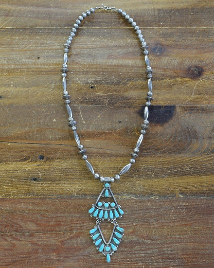 Vintage Zuni Sterling Silver and Turquoise Necklace by Lucinda and Bill Laweka