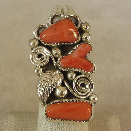 Sterling Silver and Coral Southwest Statement Ring Size 6