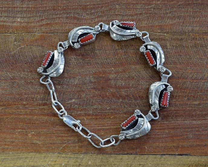 Vintage Sterling Silver Coral Link Bracelet