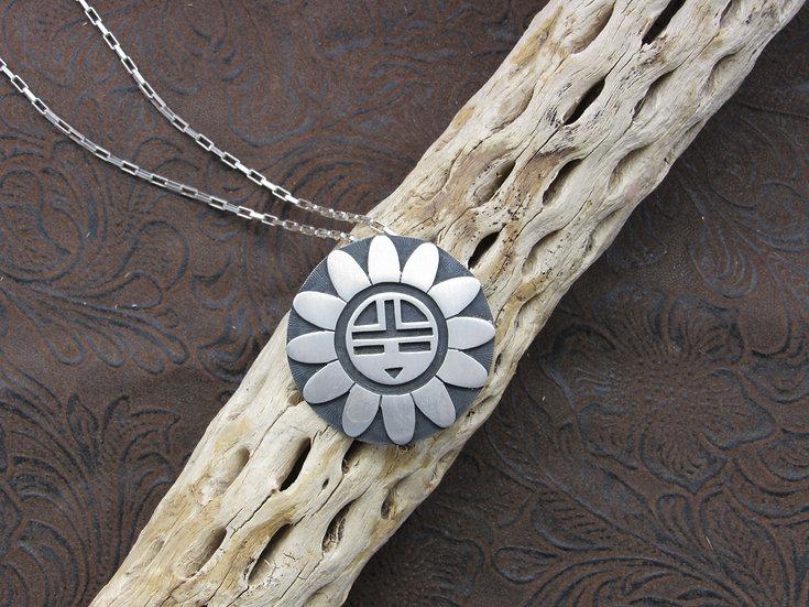 Sterling Silver Southwestern Sun Kachina Mask Necklace