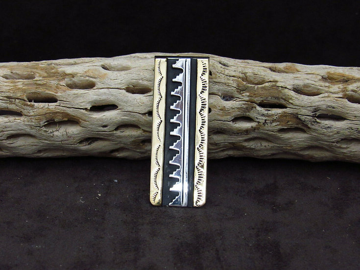Navajo Overlay and Stamped Design Money Clip by T & R Singer