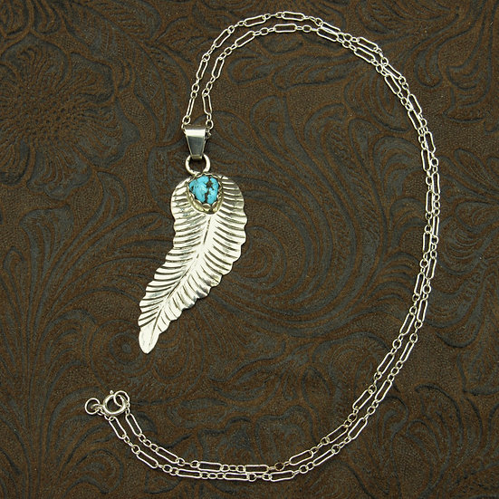 Sterling Silver Turquoise Feather Pendant With Chain