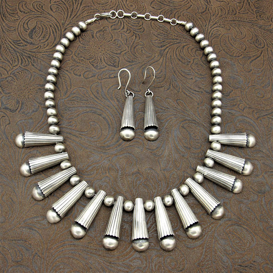 Southwest Sterling Silver Necklace and Earrings by Geraldine Yazzie