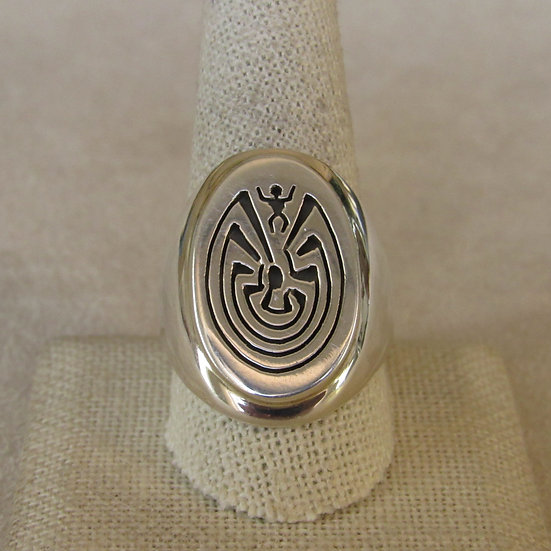 Sterling Silver Man in the Maze Mens Ring Size 10.5