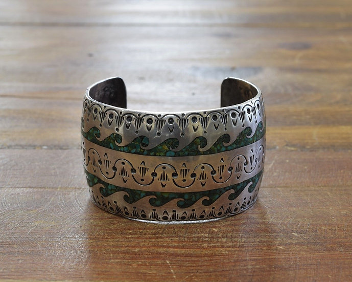 Vintage Sterling Silver Chip Inlay Turquoise Cuff Bracelet