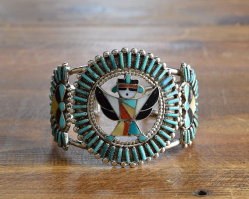 Vintage Sterling Turquoise & Multi-Color Inlay Knifewing Cuff by Delfina Cochini