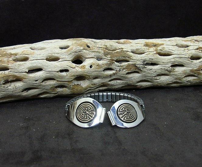 Navajo Sterling Silver and Gold Man In the Maze Watch Band by Jimmy Secatero
