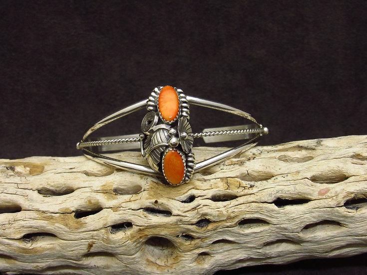 Southwestern Sterling Silver Orange Spiny Oyster Cuff Bracelet