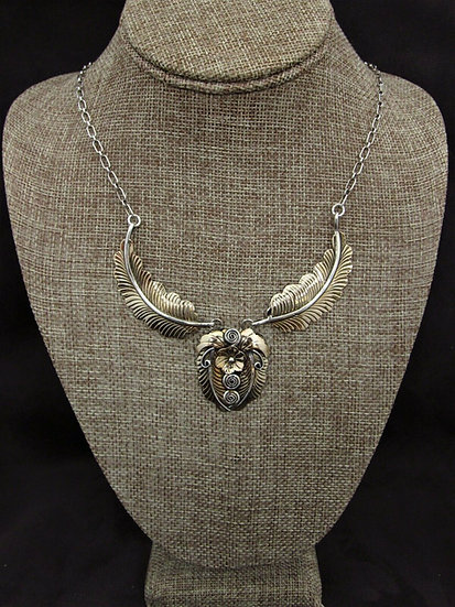 Sterling Silver and Gold Fill Southwestern Foliage Necklace