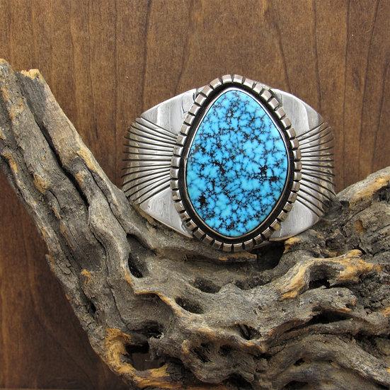 Vintage Southwestern Sterling Silver Blue Turquoise Cuff Bracelet