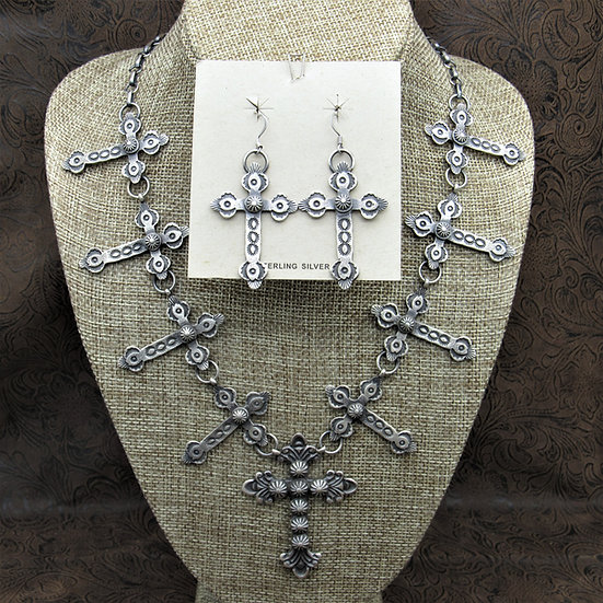 Southwestern Sterling Silver Cross Necklace And Earrings Set