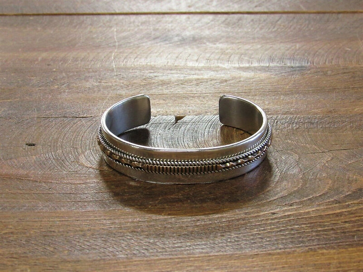 Vintage Navajo Sterling Silver and 12K Gold Filled Cuff Bracelet by Paul Livings