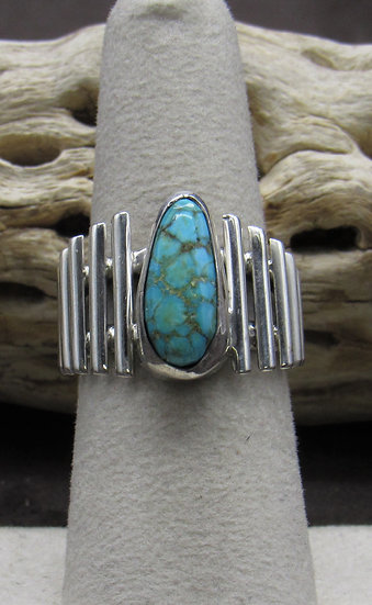 Unique Sterling Silver and Turquoise Ring Size 7