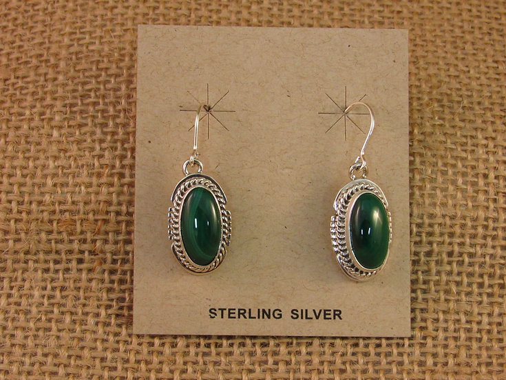 Navajo Oval Malachite Sterling Silver Dangle Earrings