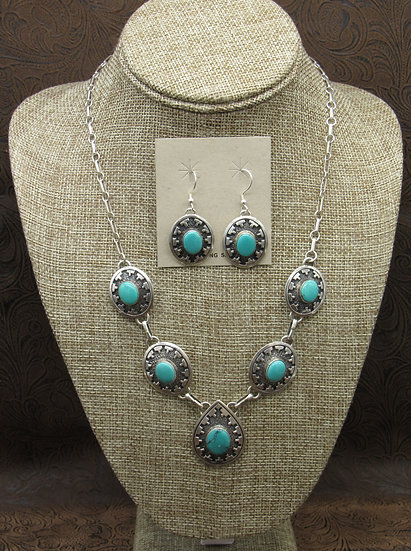 Navajo Turquoise Necklace and Earring set by Mark Yazzie