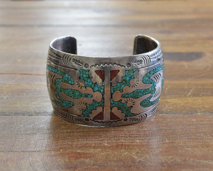 Vintage Turquoise and Coral Chip Inlay Cuff Bracelet