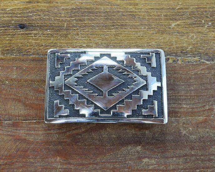 Navajo Sterling Silver Geometric Overlay Belt Buckle