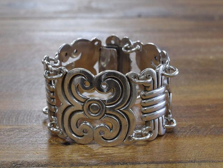 Vintage Taxco Style Sterling Silver Link Bracelet