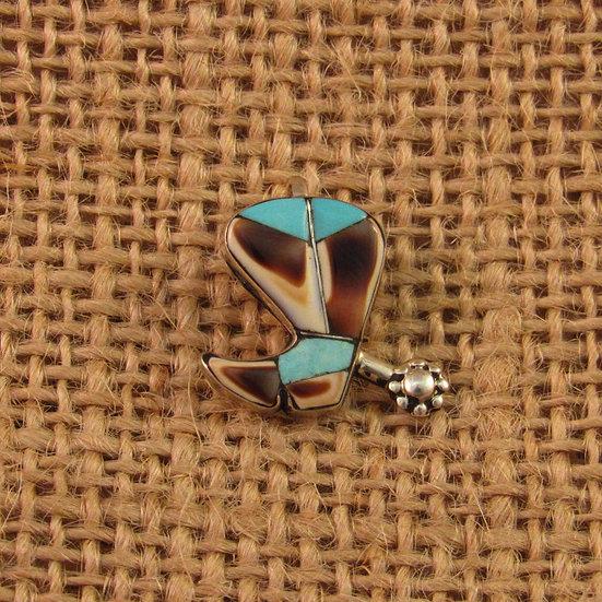 Zuni Multi Stone Inlay Cowboy Boot Pendant