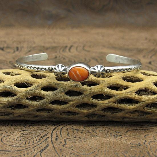 Dainty Southwestern Oval Spiny Oyster Cuff Bracelet