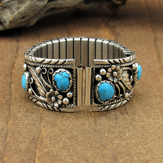 Southwest Sterling Silver Men's Turquoise Watch Band