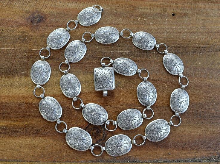 Navajo Sterling Silver Vimtage Concho Belt