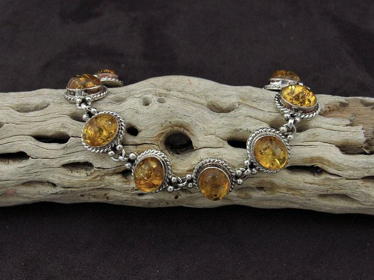 Sterling Silver Amber Link Bracelet