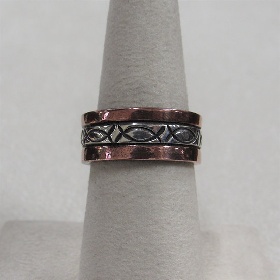 Sterling Silver and Copper Band Ring Size 7